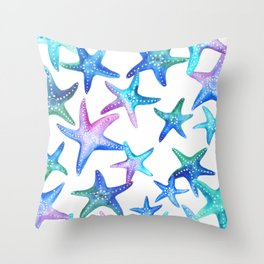 Watercolor Starfish Throw Pillow