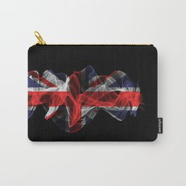 Union Jack Smoke Flag on Black Background, Union Jack flag Carry-All Pouch