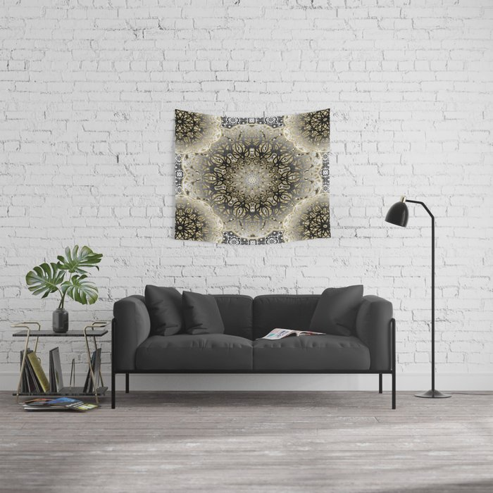 Gilded Nouveau Mandala Wall Tapestry