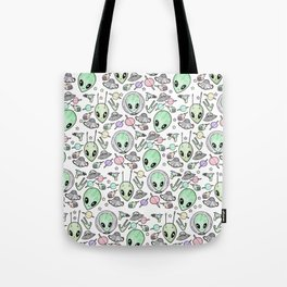 Alien and UFO pattern Tote Bag