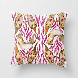 Otters – Pink Accents Throw Pillow
