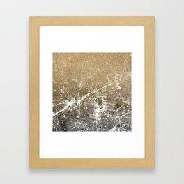 Vintage black white gold glitter marble Framed Art Print
