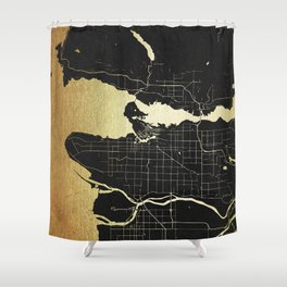 Vancouver Canada Black and Gold Map Shower Curtain