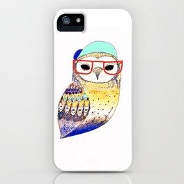 Hipster Owl, hipster, owl, owl art, illustration, print, children's, digital, iPhone Case