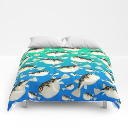 Puffer Pattern Turquoise Teal Blue Comforters