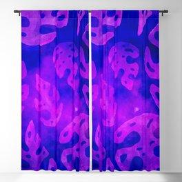Monstera Plant Purple Batik Blackout Curtain