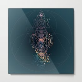Dark Moon Phase Nebula Totem Metal Print