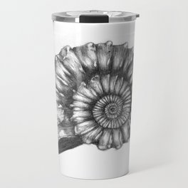 Ammonite Drawing - Pencil Sketch Travel Mug
