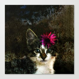 Kitten With Flower Portrait Canvas Print