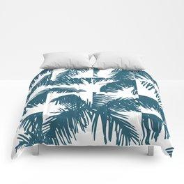 Palm Leaf Pattern Blue Comforters