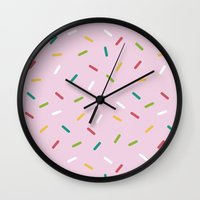 donut Wall Clocks featuring Donut by According to Panda