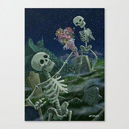 Romantic Valentine Skeletons in Graveyard Canvas Print