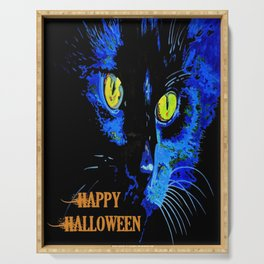 Black Cat Portrait with Happy Halloween Greeting  Serving Tray
