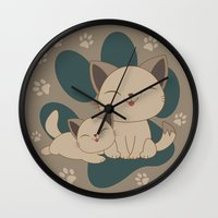 mew Wall Clocks featuring Mama, Mew...Mew... by HK Chik