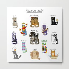Science cats. History of great discoveries. Schrödinger cat, Tesla, Einstein. Physics, chemistry etc Metal Print