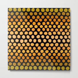 Honey Gold and Amber Ombre Dots Metal Print