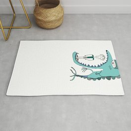 Fish eating guy with a rollers, blue, fish, rollers, scary Rug