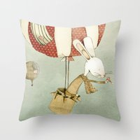 balloon Throw Pillows featuring Balloon by Judith Loske