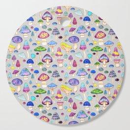 Watercolor Mushroom Pattern on Gray Cutting Board