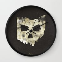 ohio state Wall Clocks featuring Ohio Skull by Will Ruocco