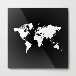 Black white world map Metal Print
