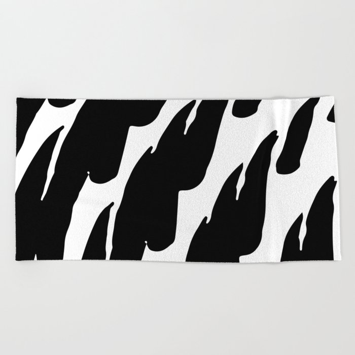 Black Abstract Brush Marks Beach Towel