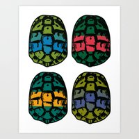 ninja turtles Art Prints featuring ninja shells by tama-durden