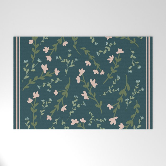 Moody Floral Pattern Welcome Mat