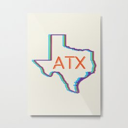 ATX Austin, Texas Retro Neon Lights Metal Print