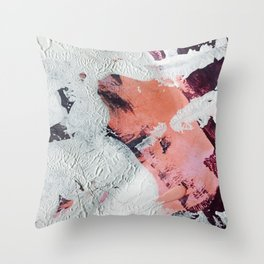 Taboo [2]: a vibrant, abstract, mixed-media piece in purple, orange, and light blue Throw Pillow