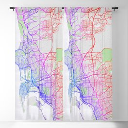 San Diego City Map of California, USA - Colorful Blackout Curtain