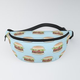 Rows of burgers on pale blue Fanny Pack