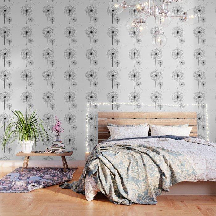 Black And White Dandelion Sketch Wallpaper