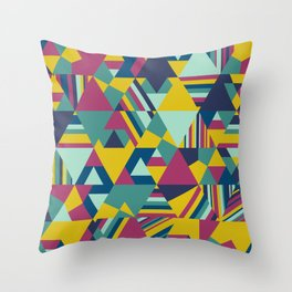 Colourful triangular mosaic in blue, yellow and burgundy Throw Pillow