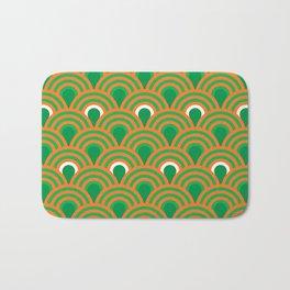 retro sixties inspired fan pattern in green and orange Bath Mat