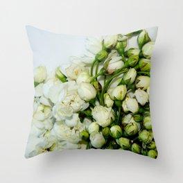 tiny white flowers Throw Pillow