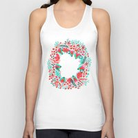 waldo Tank Tops featuring The Earth Laughs in Flowers – Pink & Charcoal by Cat Coquillette