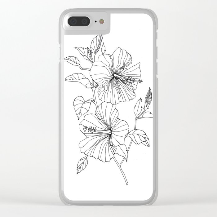 Hibiscus Flower drawing Clear iPhone Case