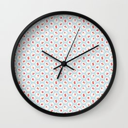 Shabby Chic Florals on Blue Wall Clock