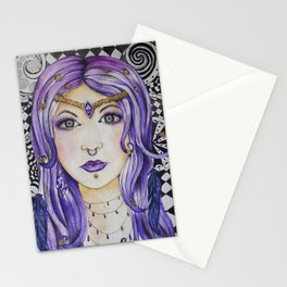 Fantasy gothic watercolor art Stationery Cards