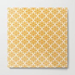 Damask (Orange & White Pattern) Metal Print