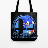 super smash bros Tote Bags featuring Sonic - Super Smash Bros. by Donkey Inferno