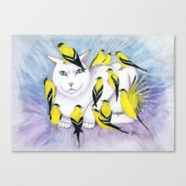 Cat Covered in Goldfinches Canvas Print