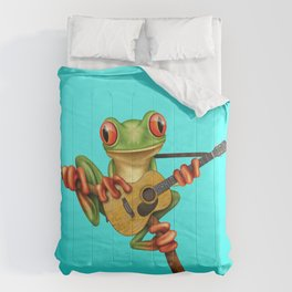 Cute Green Tree Frog Playing an Old Acoustic Guitar Comforters