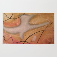 religious Area & Throw Rugs featuring The Dove Religious Abstract Art By Saribelle  by Saribelle Inspirational Art