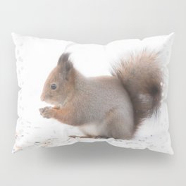 Squirrel And Lunch Pause Winter Scene #decor #society6 #buyart Pillow Sham
