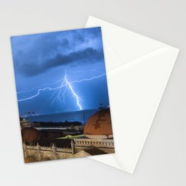 Storm lightning in the Strait of Messina Stationery Cards