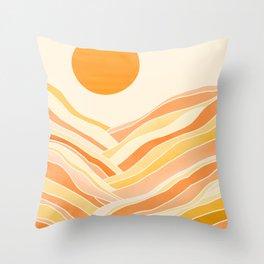 Golden Mountain Sunset Throw Pillow