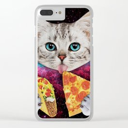 Cat Eat Pizza Clear iPhone Case