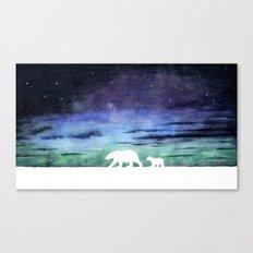 Aurora borealis and polar bears (white version) Canvas Print